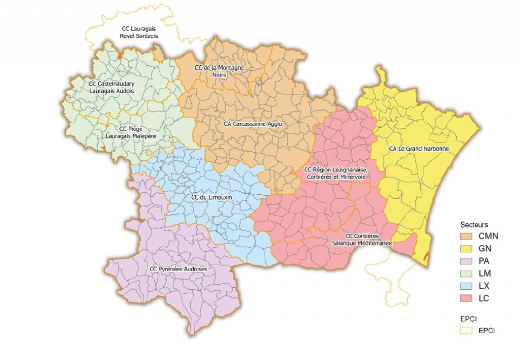Carte Aude_Secteurs territoriaux SYADEN