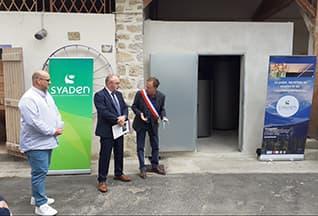 Inauguration d'une chaufferie individuelle au bois à Luc-Sur-Aude